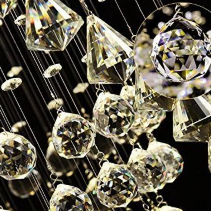 Double Spiral Crystal Chandelier with Three Spheres - Crystal details