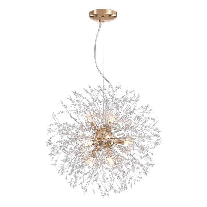 Elegant Floral Crystal Globe Chandelier Gold White Background