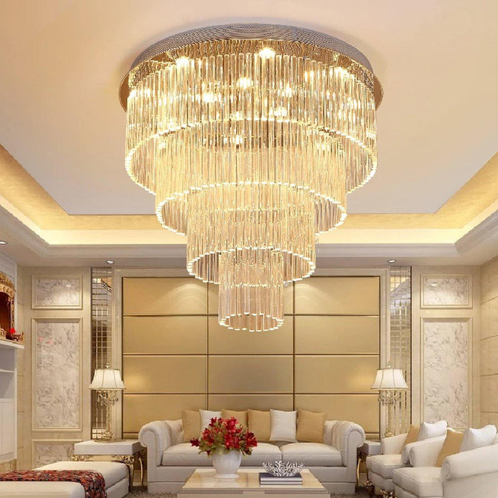 Elegant Round Rain Drop Ceiling Light Clear K9 Crystal Chandelier Lighting Fixture