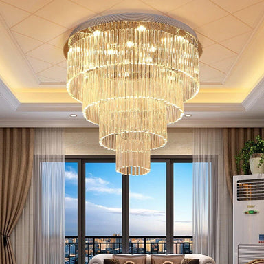 Elegant Round Rain Drop Ceiling Light Clear K9 Crystal Chandelier Lighting Fixture - Living Room
