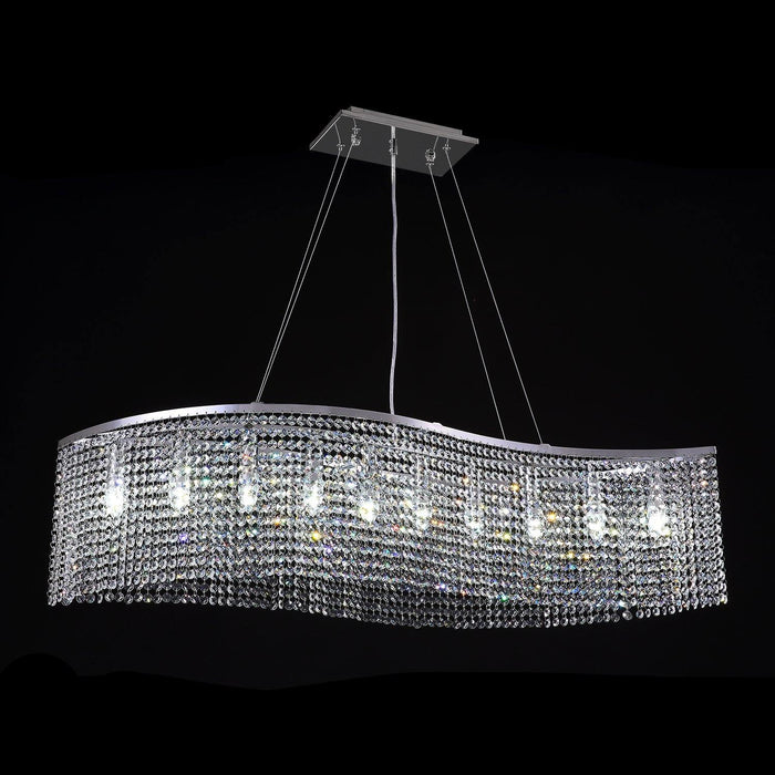 Elegant Wave Crystal Chandelier Octagon-beads Pendant Light - Cool White Light Effection
