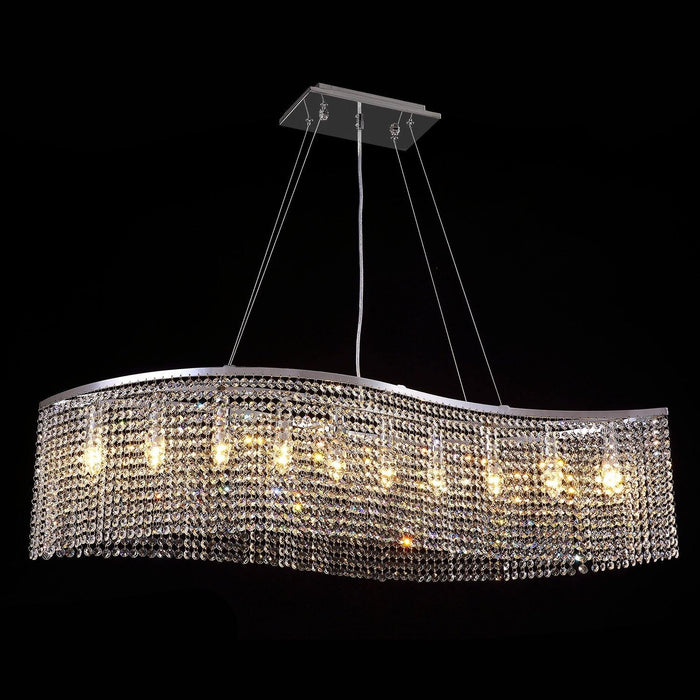 Elegant Wave Crystal Chandelier Octagon-beads Pendant Light - Warm Light Effection