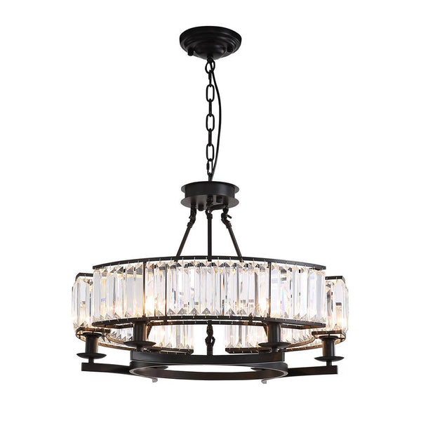 Vintage Dimmable Round Crystal Chandelier