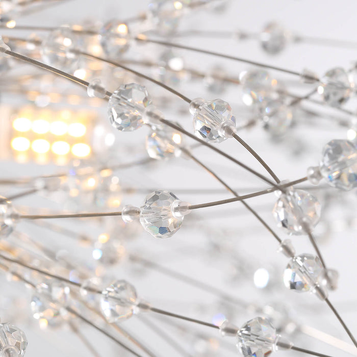 Firework Crystal Globe Hanging Light Chrome Detail-1
