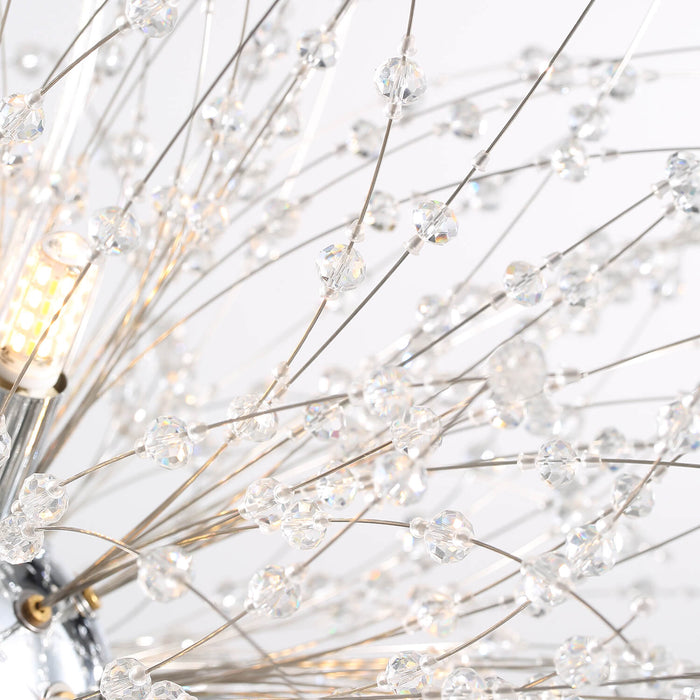 Firework Crystal Globe Hanging Light Chrome Detail-2