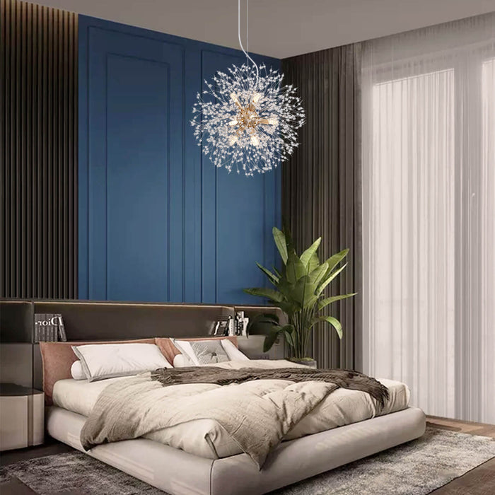 Firework Crystal Globe Hanging Light Gold For Bedroom