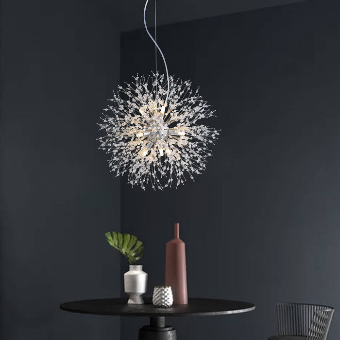 Firework Crystal Globe Pendant Light Chrome