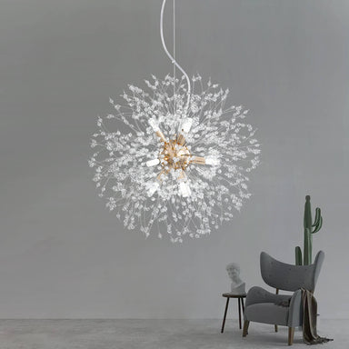 Firework Crystal Globe Pendant Light Gold