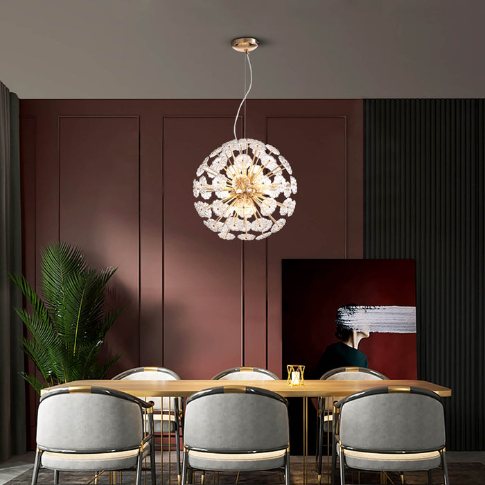 Floral Ball Crystal Chandelier For Dining Room
