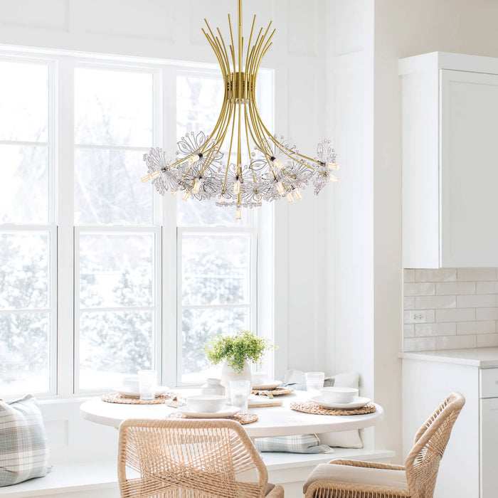 Floral Crystal Chandelier Gold-Dining Room 1