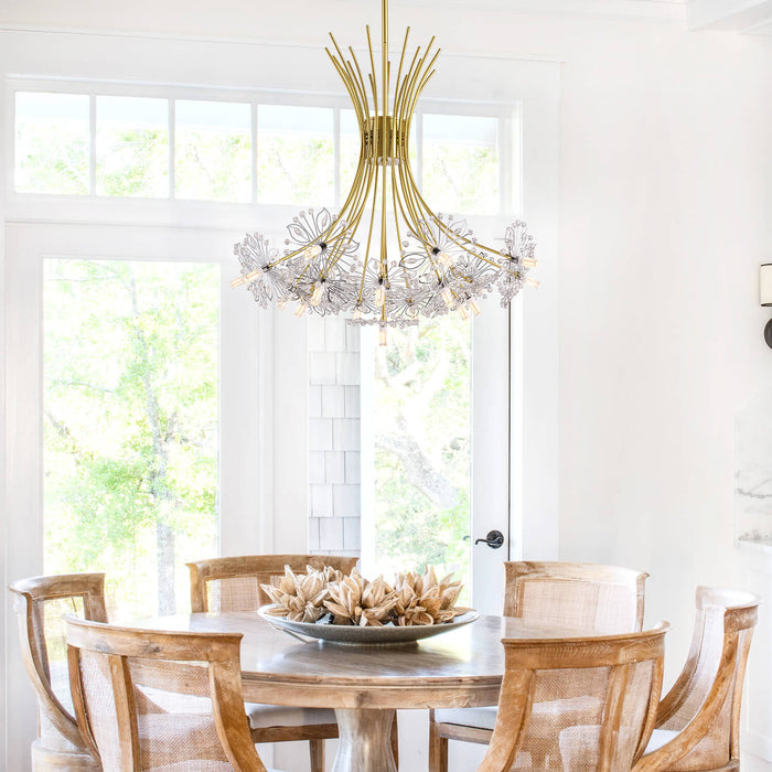 Floral Crystal Chandelier Gold-Dining Room 2
