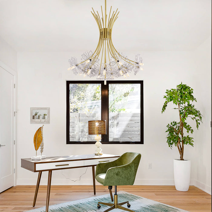 Floral Crystal Chandelier Gold-Living Room