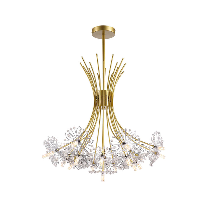 Floral Crystal Chandelier Gold-White Background