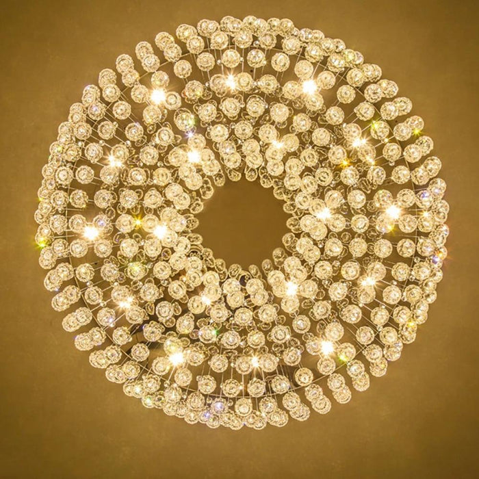Flush Mount Raindrop Crystal Round Chandelier Ceiling Light