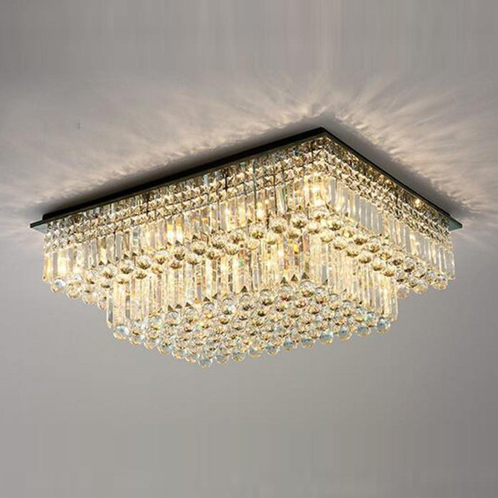 Flush Mount Tiered Crystal Chandelier Light On
