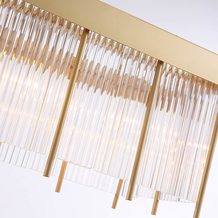 Gold Crystal Rectangle Pendant Light Detail-1