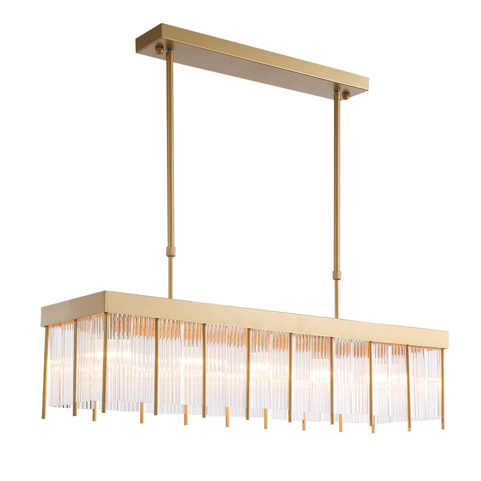 Gold Crystal Rectangle Pendant Light Side Display