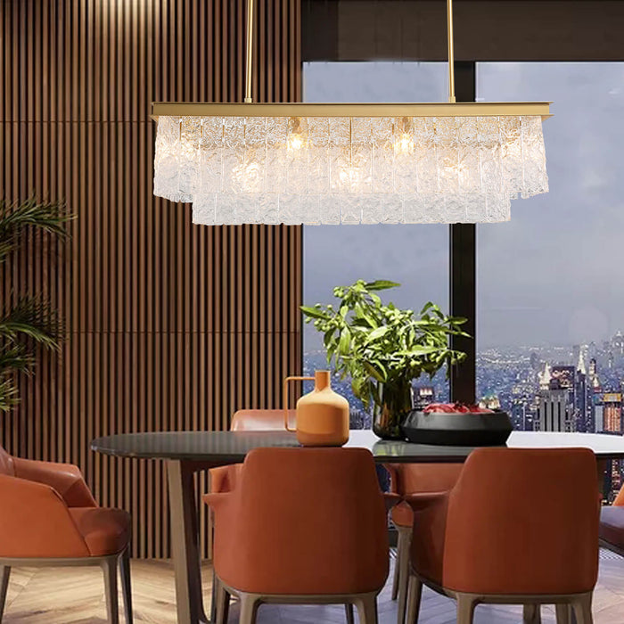 Gold Rectangular Crystal Pendant Light
