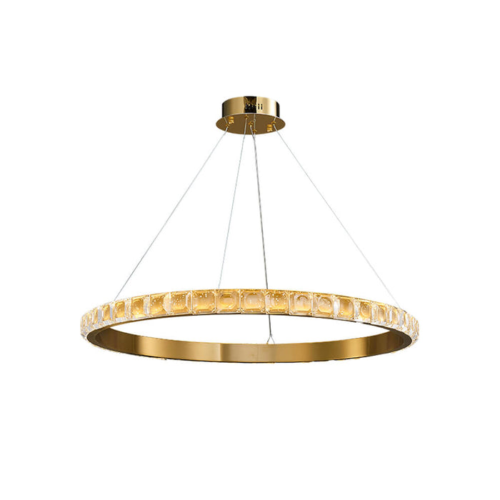 Gold Ring Crystal Hanging Light