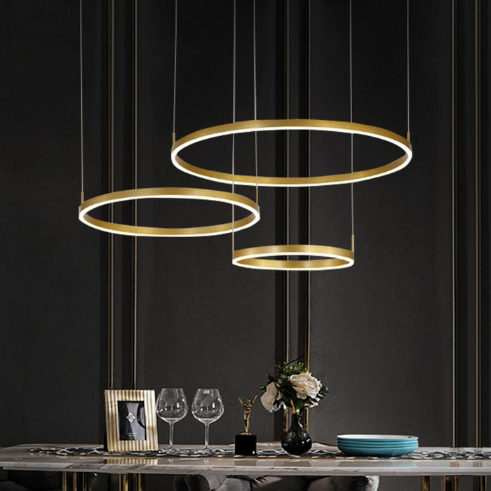 Gold Ring Hanging Light For Dining Room