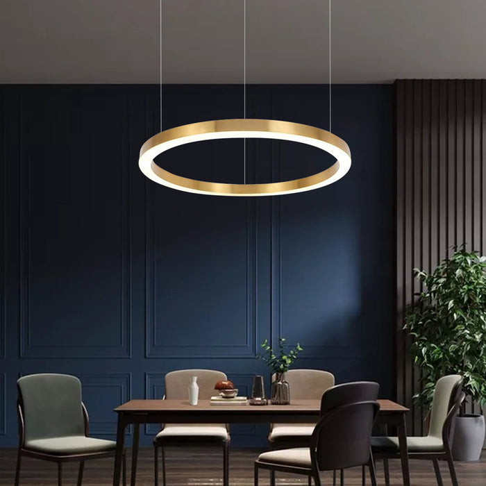 Gold Ring LED Suspension Light For Dining Room