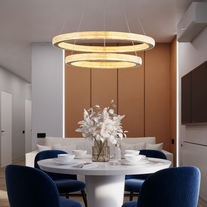 Gold Rings Hanging Light For Dining Room