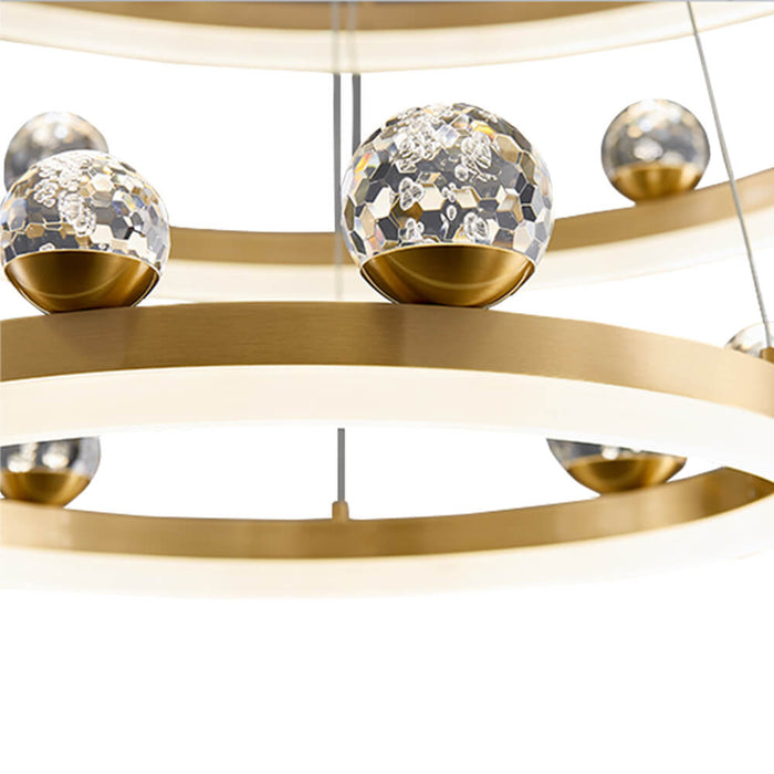 Gold Round Chandelier with Crystal Ball Detail-1