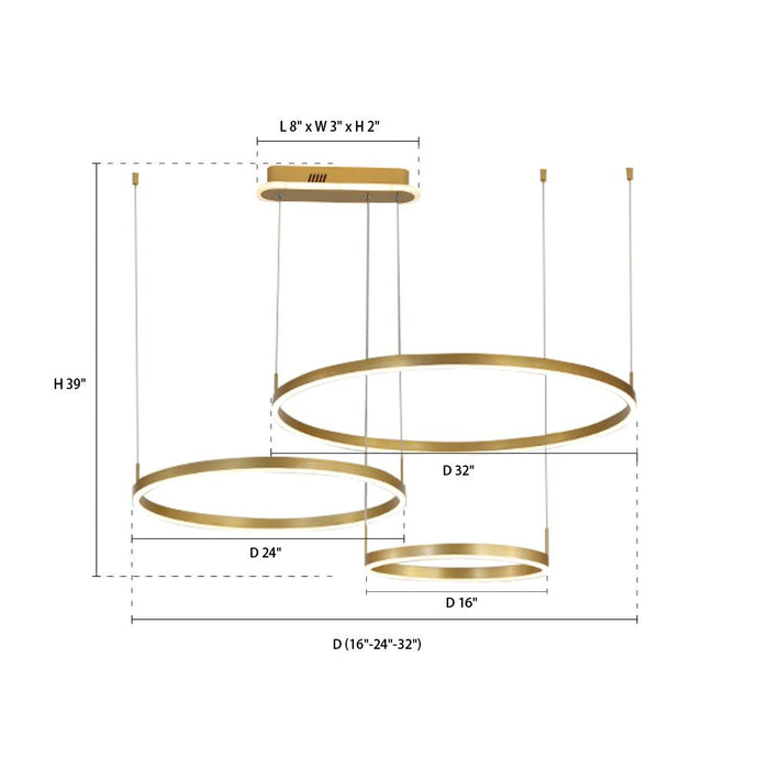 Gold Round Hanging Light Three Rings