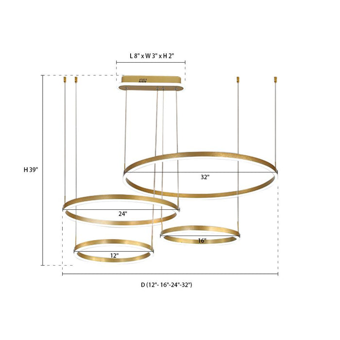 Gold Round Pendant Light Four Rings
