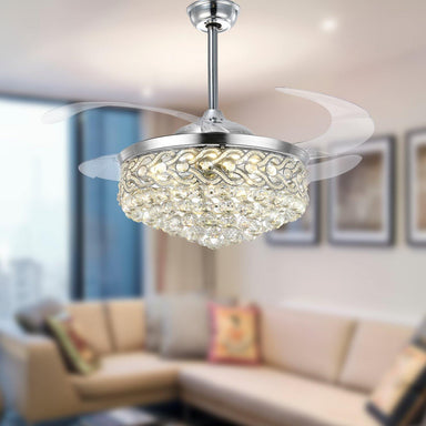 "Heart-shaped Rim Crystal Ceiling Fan Light, 42"" Chrome"