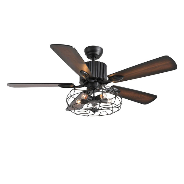 Industrial Ceiling Fan with Reversible Wood Blades