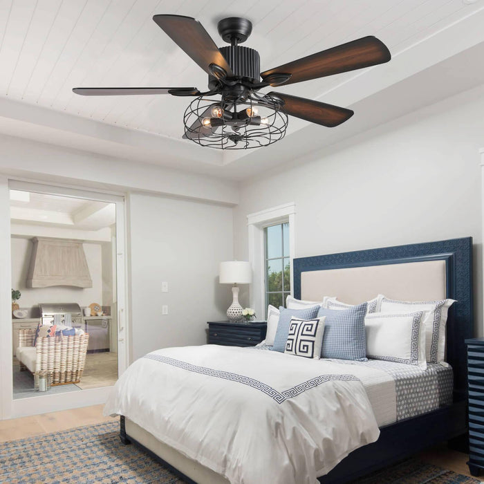 Industrial Ceiling Fan with Wood Blades For Bedroom