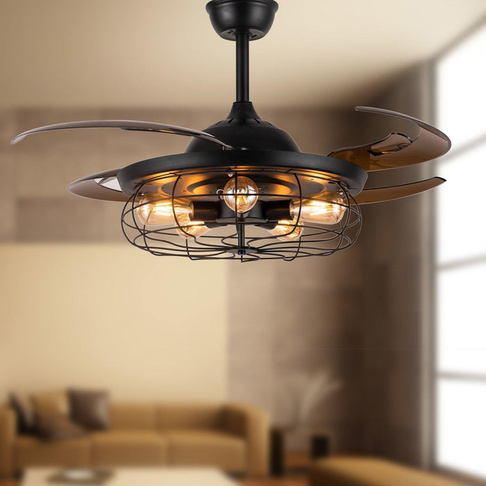 Industrial Ceiling Fans with Retractable Blades and Lights, 48 Black