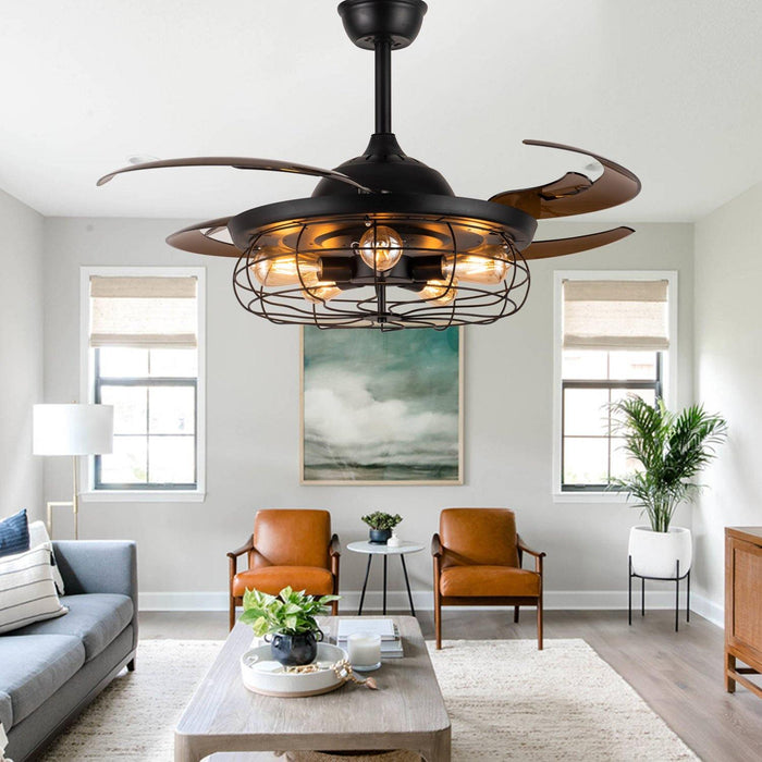 "Industrial Ceiling Fans with Retractable Blades and Lights, 48"" Black - Living Room"