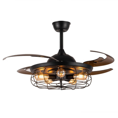 "Industrial Ceiling Fans with Retractable Blades and Lights, 48"" Black"