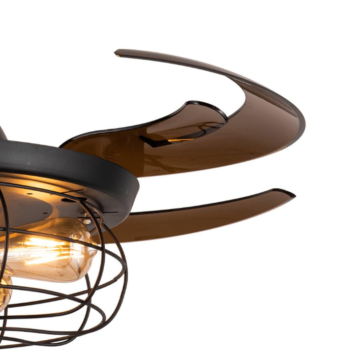 "Industrial Ceiling Fans with Retractable Blades and Lights, 48"" Black - Details"