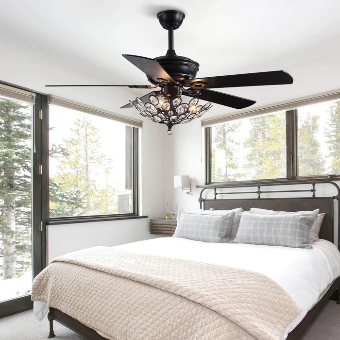 Industrial Crystal Ceiling Fan with Black Wood Blades For Bedroom