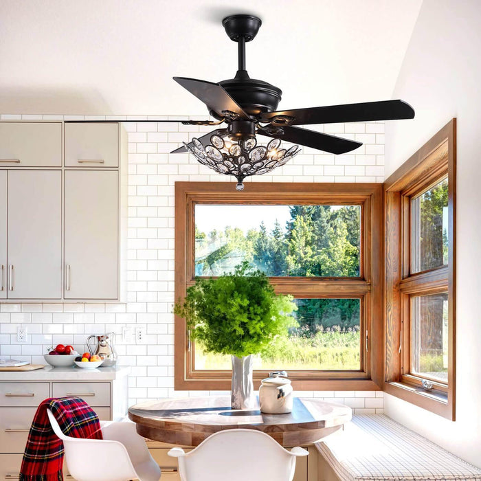 Industrial Crystal Ceiling Fan with Black Wood Blades For Dining Room