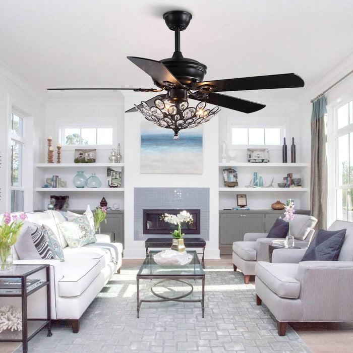 Industrial Crystal Ceiling Fan with Black Wood Blades For Living Room