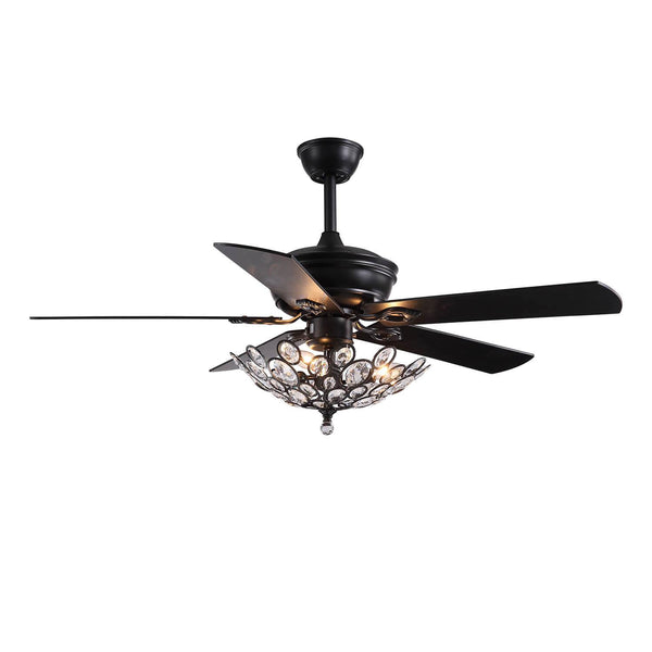 Industrial Crystal Ceiling Fan with Black Wood Blades