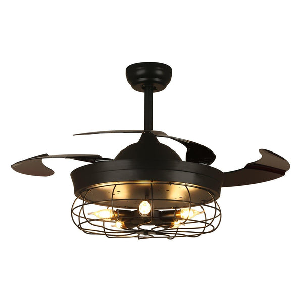 "Industrial Fan Light with Retractable Blades, 36"" Black"