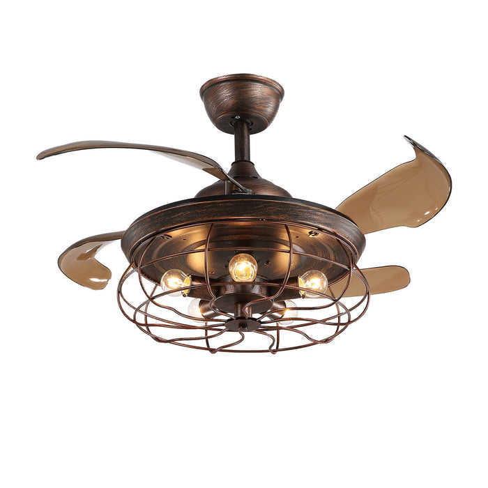 Industrial Fan Light with Retractable Blades Brown- 7PM  LIGHTING