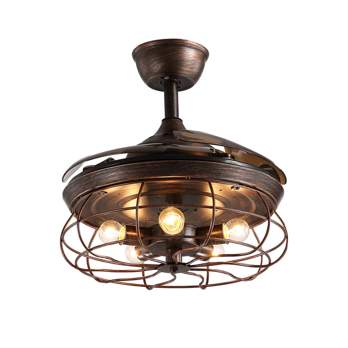 Industrial Fan Light with Retractable Blades 36 Inch Brown- 7PM  LIGHTING