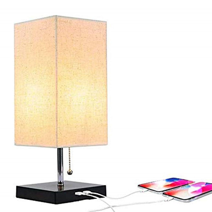 Large Rustic Table Lamp with Two USB Charging Ports for Bedroom Nightstand