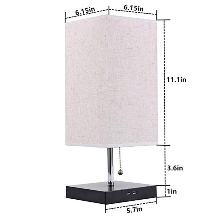 Large Rustic Table Lamp with Two USB Charging Ports for Bedroom Nightstand - Dimensions Display
