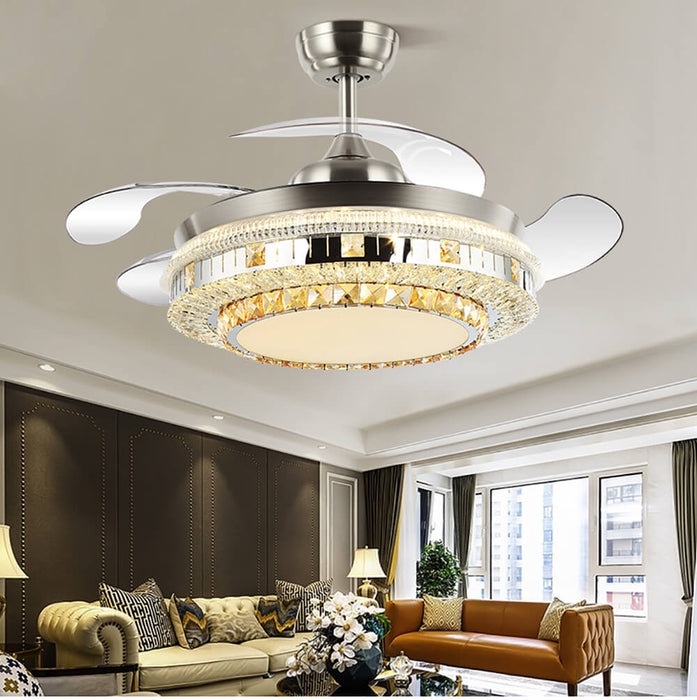 Living Room Crystal Fandelier With Foldable Blades