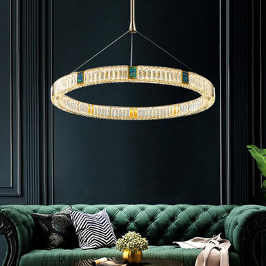 Living Room Crystal Ring LED Suspension Light