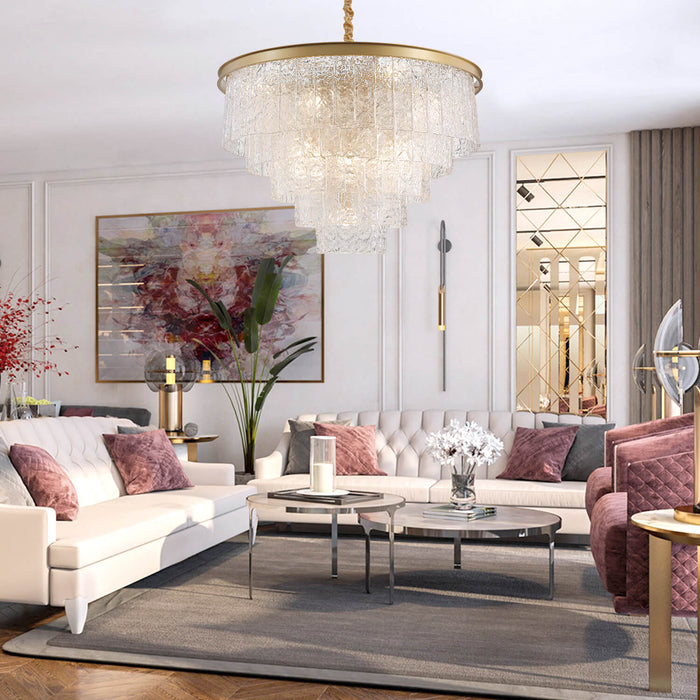 Living Room Round Gold Crystal Chandelier