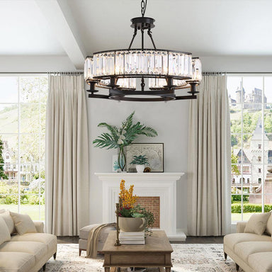Vintage Dimmable Round Crystal Chandelier - 7PM LIGHTING