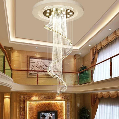 Luxury Round Spiral Rain Drop Clear K9 Crystal Chandelier for Hotel Hall Staircase Lighting Fixture - Stair Case